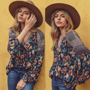 FLOWER CHILD Boho Floral Blouse